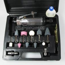 Huberth RP207814 прямая пневматическая шлифовальная машинка (бормашина) в кейсе, набор 14 предметов